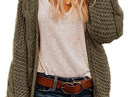 Women Open Front Chunky Knit Long Sleeve Cardigan