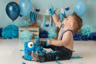 NJ Cake Smash Photographer    Cookie monster cake smash