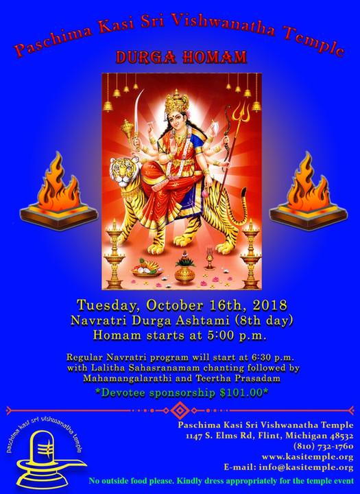 Durga Homam on Oct 16th