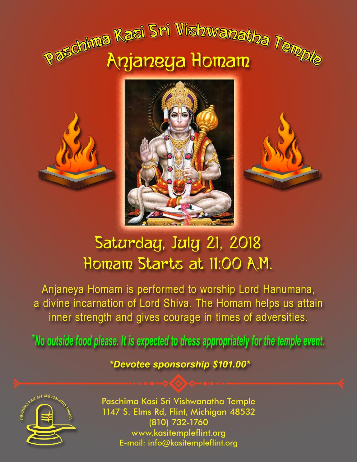 Anjaneya Homam on Saturday, 21st July | sri-kasi-temple