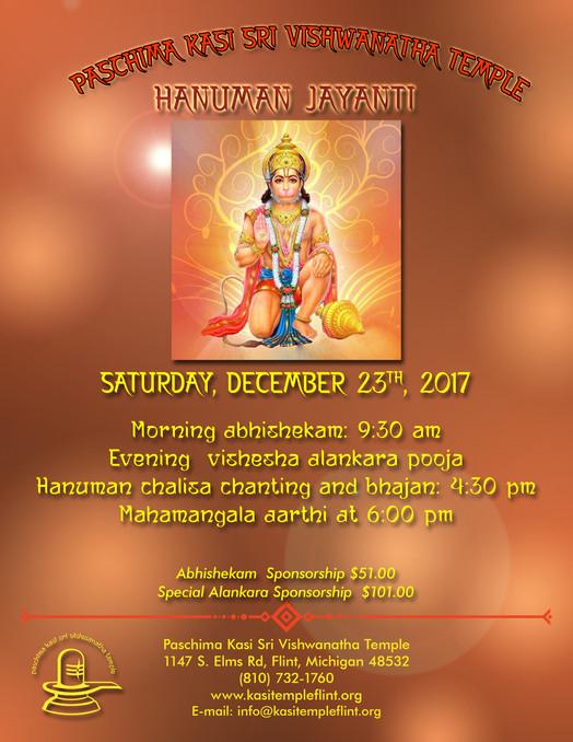 Hanuman Jayanti, Saturday December 23rd