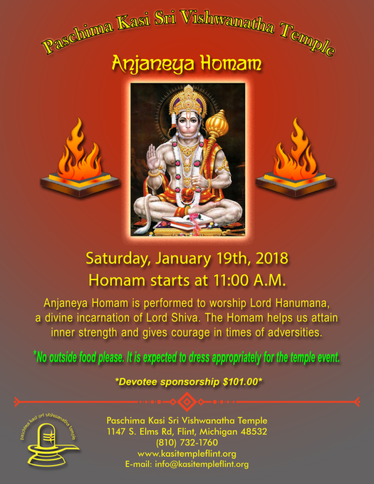 Anjaneya Homam on Jan 19th