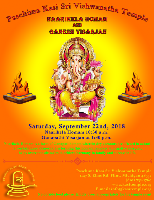 Naarikela Homam and Ganesh Visarjan on Saturday, 22nd September