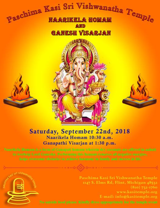 Naarikela Homam and Ganesh Visarjan on Saturday, 22nd September