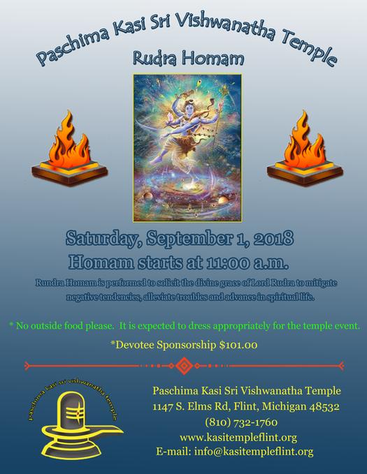 Rudra Homam on Saturday, Septemeber 1, 2018