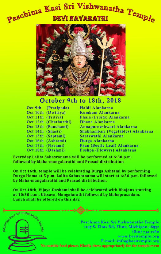 Navratri Celebrations from 9th to 18th Oct, 2018
