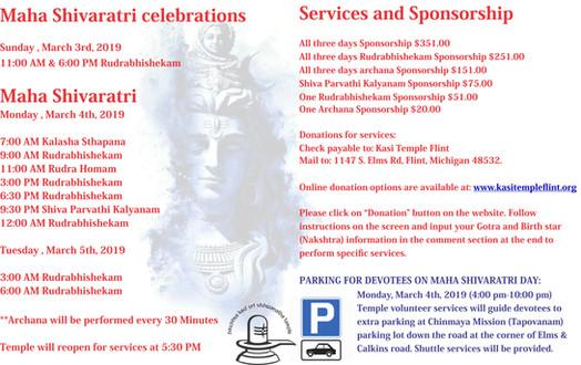 Maha Shivaratri Celebrations                        (March 3rd - 4th 2019)