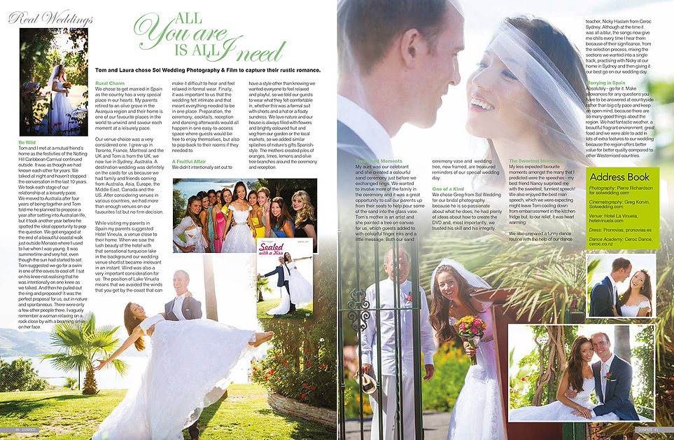 Article about Sol Wedding Marbella magazine