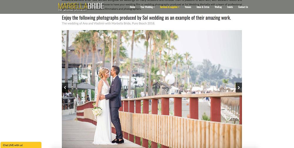Sol Wedding Marbella featured in Marbella Bride