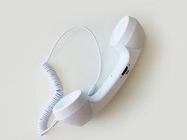 ホワイト固定電話イヤホン
