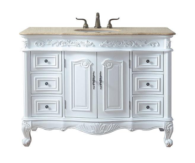 "48"" White Saturn Single Sink Vanity with Travertine Marble Top"