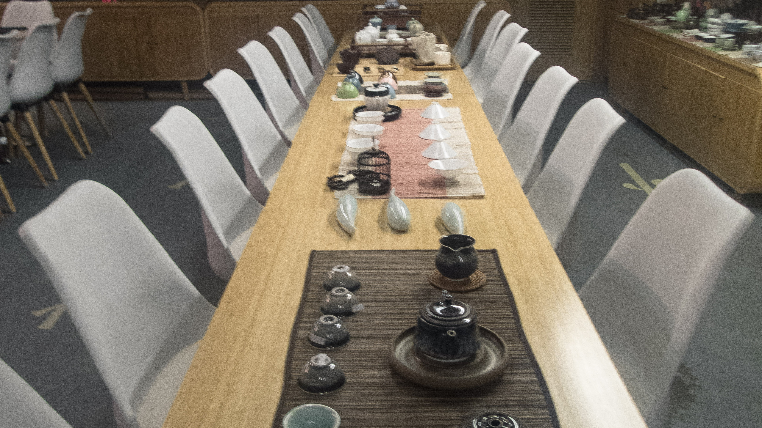 Long tables for tea ceremonies