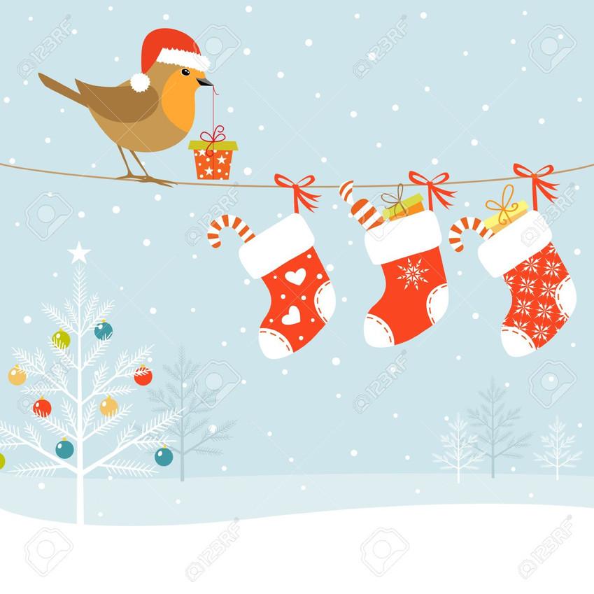 16211144-Christmas-illustration-with-Robin-bird-Christmas-socks-and-Christmas-tree--Stock-Vector