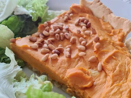 Tarte salée patate douce et pignons de pins