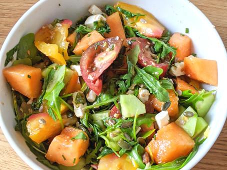 Salade estivale melon, tomate, concombre, roquette et fêta