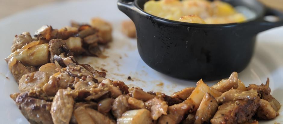 Wok de veau aux champignons et aux asperges, et sauce moutarde