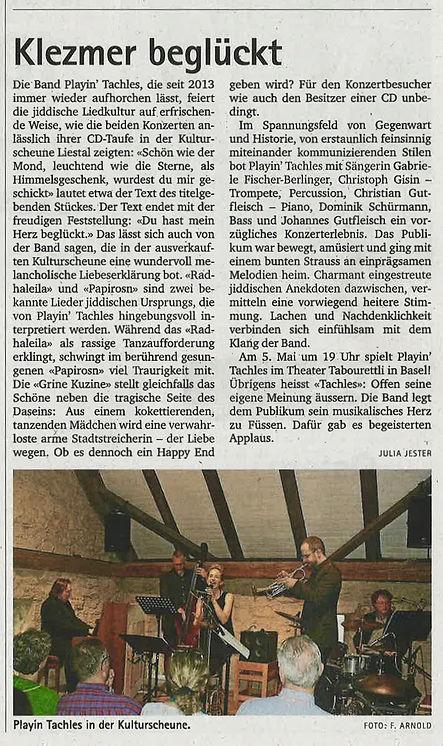 Zeitungsbericht Kulturscheune 11.April 2