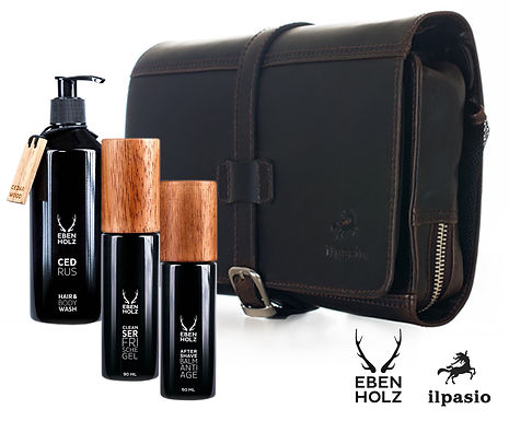 ilpasio Geschenkset Necessaire mit Ebenholz Produkten bestückt
