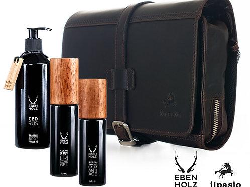 ilpasio Necessaire marrón mit 3 Ebenholz Produkten bestückt