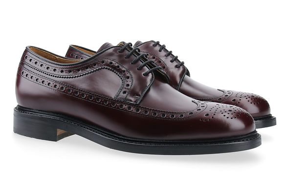 Berwick Full Brogue Derby Glanzleder bordeaux mit Gummisohle