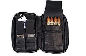 Zigarrenetui Leder schwarz
