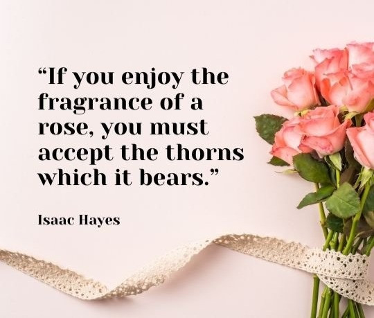 If you enjoy the fragrance of a rose, you must accept the thorns which it bears.