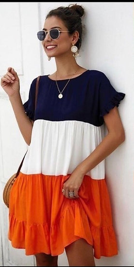 Трицветна лятна рокля
