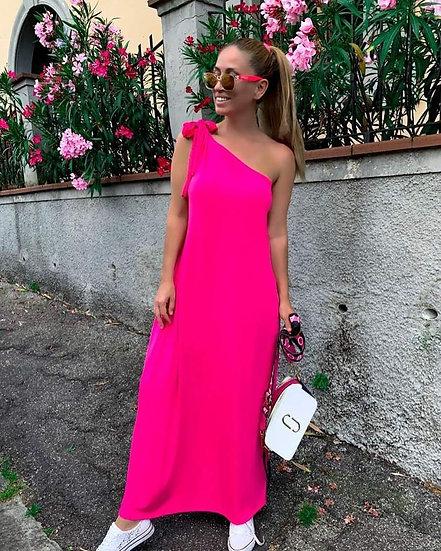 Дълга рокля с едно рамо в розово