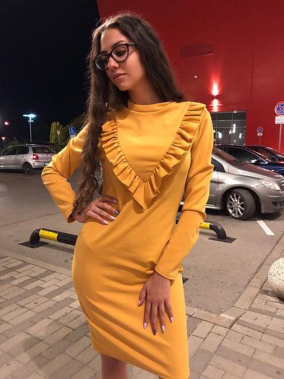 Стилна рокля в Горчица