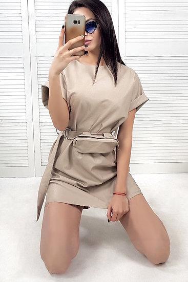 Еко кожа рокля