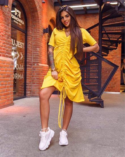 Цветна рокля с връзки