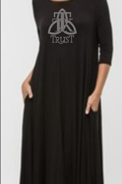 TRUST Rhinestone 3/4 Flowy Dress