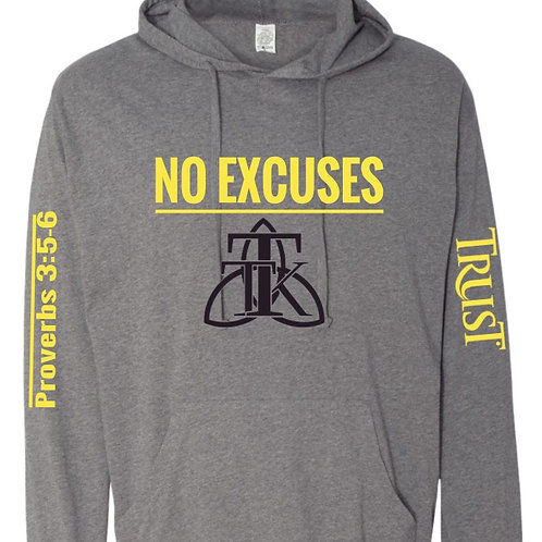 NO EXCUSES Lightweight Hoodie (unisex)