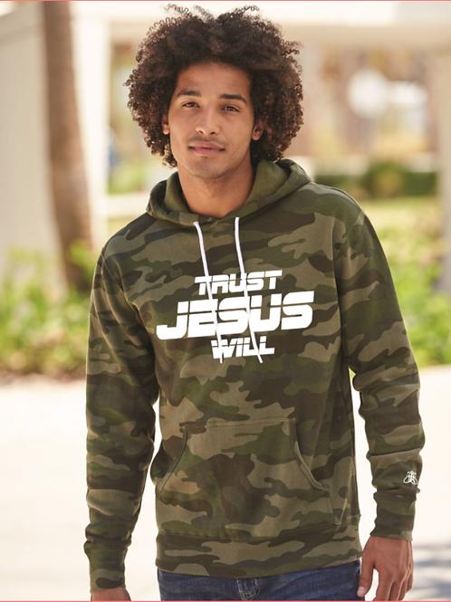 TRUST JESUS WILL Camo Hoodie (unisex)