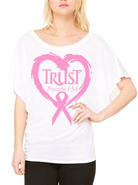 TRUST Flowy Tee Heart Breast Cancer #232