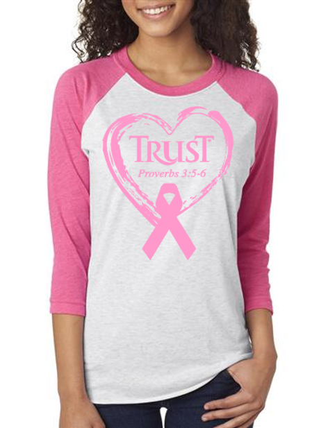 TRUST Heart 3/4 Ribbon Breast Cancer #237