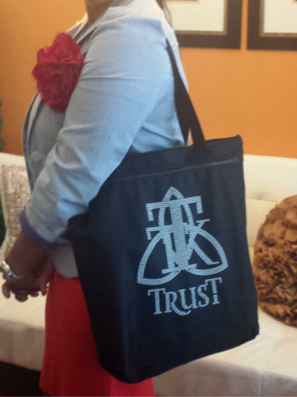 TRUST Studded Tote Bag