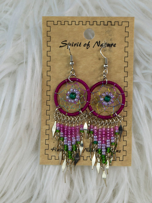 Pink/Green Dream Catcher, Spirit of Nature Earrings