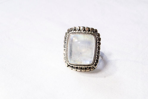 Moonstone Square Sterling Silver Ring