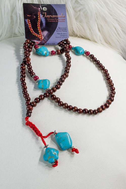 Rosewood and Turquoise Mala Beads