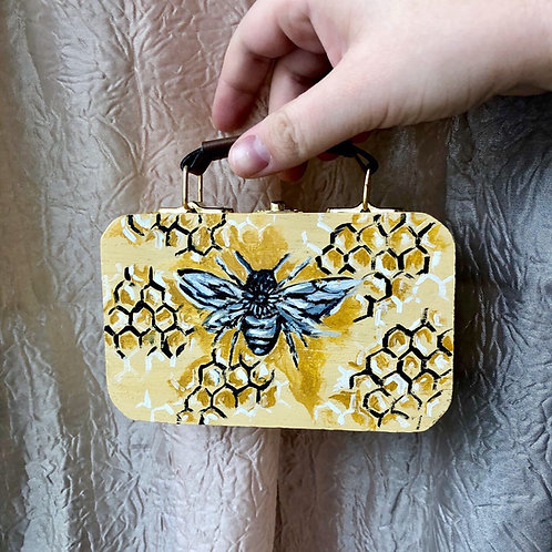 Hand-painted Wooden Box- Bee & Honeycomb
