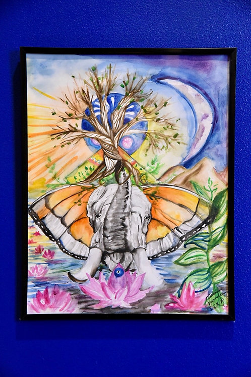 Butterfly Elephant Watercolor Painting