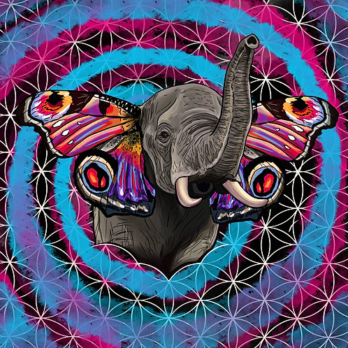 Butterfly Elephant Flower of Life Art Print