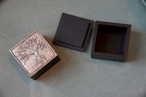 White Metal Tree of Life Trinket Box