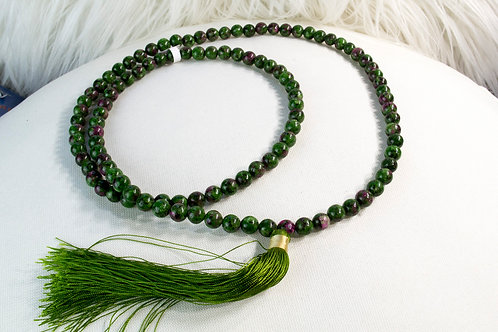 Ruby Zoisite Prayer Mala Beads