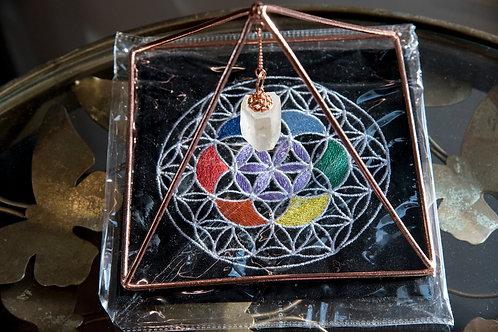 Copper Energizer Pyramid with Quartz Point & Mat