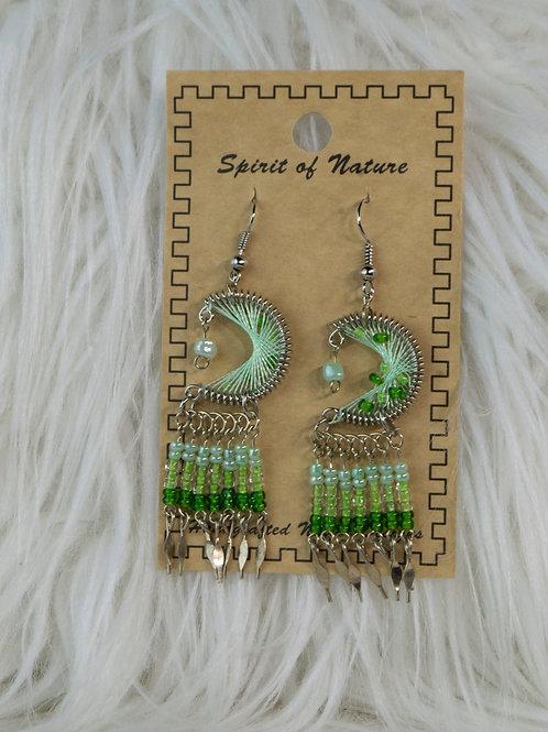 Green Half Moon Dreamcatcher, Spirit of Nature Earrings