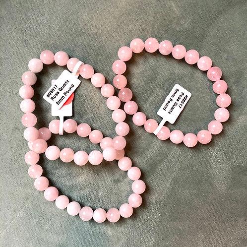 Rose Quartz Elastic Bracelet 8mm