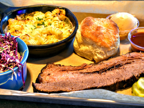 bbq brisket plate with mac, slaw + biscuit