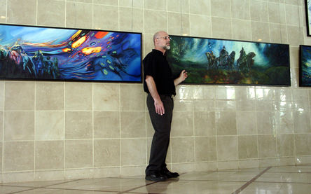 Eliad Bar lectures to students about his paintings and artistic perception